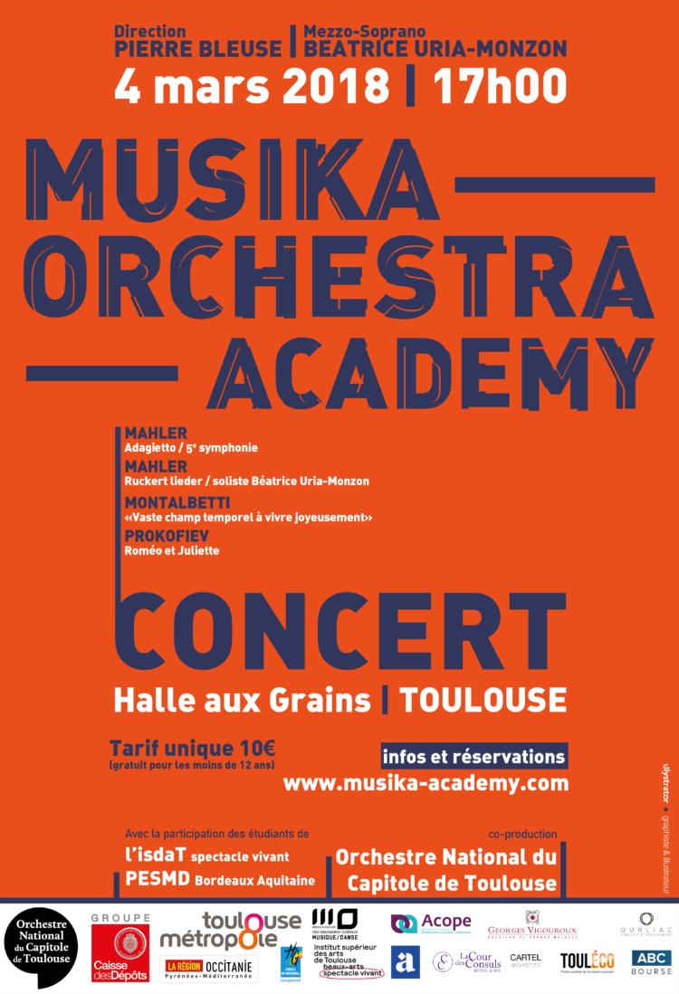Affiche Concert Toulouse Halle aux grains - Musika Orchestra Academy