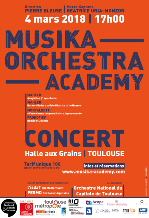 Affiche Concert Toulouse Halle aux grains - Musika Orchestra Academy
